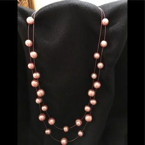 Honora Pink Floating Baroque Double Necklace